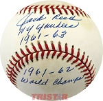 Jack Reed Autographed Baseball Inscribed NY Yankees 1961-63, 1961-62 World Champs