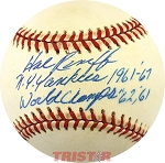 Hal Reniff Autographed Baseball Inscribed NY Yankees 1961-67, World Champs 61-62