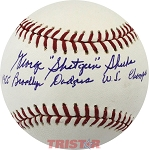 George Shuba Autographed Baseball Inscribed 1955 Brooklyn Dodgers WS Champs