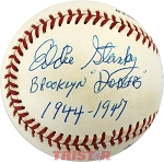 Eddie Stanky Autographed Official National League Baseball Inscribed Brooklyn Dodgers