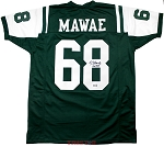 Kevin Mawae Autographed New York Jets Custom Jersey Inscribed HOF 19
