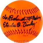 Charlie O. Finley Autographed Official Orange Baseball Inscribed To Richard McBelvey
