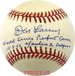 Don Larsen Autographed Official AL Baseball Inscribed World Series Perfect Game