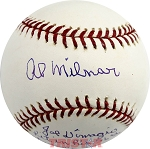 Al Milnar Autographed Official Major League Baseball Inscribed DiMaggio's Final Hit