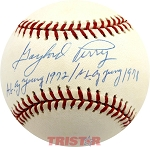 Gaylord Perry Autographed Official NL Baseball Inscribed AL Cy 1972, NL Cy 1978