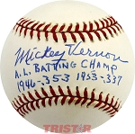 Mickey Vernon Autographed American League Baseball Inscribed AL Batting Champ 1946 & 1953