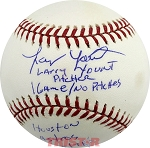 Larry Yount Autographed Official ML Baseball Inscribed 1 Game No Pitches 9-15-71