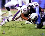 Ray Lewis Autographed Baltimore Ravens Tackling 16x20 Photo Inscribed HOF 2018