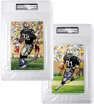 Marcus Allen & Tim Brown Autographed Oakland Raiders Slabbed Goal Line Art Cards Combo