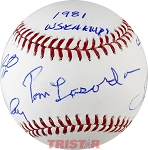 Tom Lasorda, Steve Garvey, Bill Russell, Davey Lopes & Ron Cey Autographed Baseball Inscribed 81 WS Champs