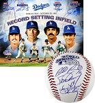 Garvey, Lopes, Russell & Cey Autographed 1981 World Series Baseball & Dodgers 16x20 Photo Combo