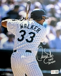 Larry Walker Autographed Colorado Rockies 8x10 Photo Inscribed HOF 20