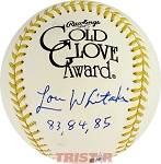 Lou Whitaker Autographed Official Gold Glove Award Baseball Inscribed 83, 84, 85