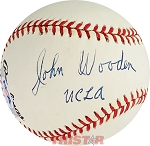 John Wooden Autographed Official National League Baseball Inscribed UCLA