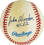 John Wooden Autographed Official American League Baseball Inscribed UCLA