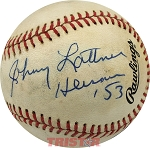 Johnny Lattner Autographed Official National League Baseball Inscribed Heisman 53