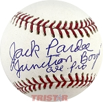 Jack Pardee Autographed Official ML Baseball Inscribed Junction Boys All Pro