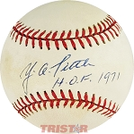 YA Tittle Autographed Official American League Baseball Inscribed HOF 1971