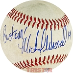 Michael Waddell Autographed Official Southern League Baseball Inscribed Bustem