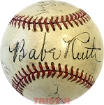 Babe Ruth Autographed Baseball High Grade Signature with Dom DiMaggio & More