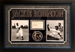 Jackie Robinson Autographed Hall of Fame Plaque Postcard Custom Framed