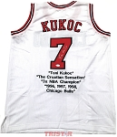 Toni Kukoc Autographed Chicago Bulls Career Stat Embroidered Jersey