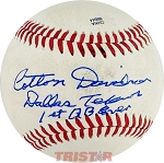 Cotton Davidson Autographed Baseball Inscribed Dallas Texans 1st QB Ever
