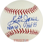 Sam Jones Autographed Official Major League Baseball Inscribed NBA 50 HOF 83