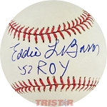 Eddie LeBaron Autographed Official Major League Baseball Inscribed 52 ROY