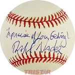 Ralph Nader Autographed Official AL Baseball Inscribed In Praise of Lou Gehrig!