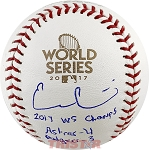 Evan Gattis Autographed 2017 World Series Baseball Inscribed 2017 WS Champs, Astros-4, Dodgers-3