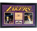 LeBron James Autographed High School Floor Piece in Lakers Custom Frame