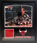 Michael Jordan Autographed Chicago Bulls 16x20 Photo Framed with Floor Piece