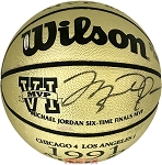 Michael Jordan Autographed Finals MVP Gold Commemorative Basketball LE