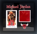 Michael Jordan Autographed Chicago Bulls Magazine Page Framed with Floor Piece