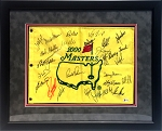 Masters Winners Autographed 2000 Masters Golf Flag Framed