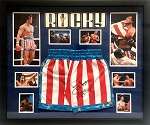 Sylvester Stallone Autographed 'Rocky' Apollo Creed Boxing Trunks Framed