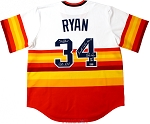 Nolan Ryan Autographed Houston Astros Rainbow Jersey Inscribed Astros 1980-88, HOF, 34 Retired