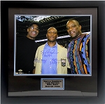 Barry Sanders, Lem Barney, & Billy Sims Autographed Lions 16x20 Photo Inscribed ROY Framed