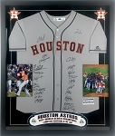 Houston Astros Team Autographed Replica Jersey with 2017 World Series Champions Frame
