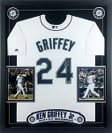Ken Griffey Jr. Autographed Framed Seattle Mariners Jersey Inscribed HOF 16