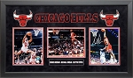 Michael Jordan, Scottie Pippen & Dennis Rodman Autographed Chicago Bulls 8x10 Photos Framed