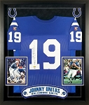 Johnny Unitas Autographed Framed Baltimore Colts Jersey Inscribed HOF 79