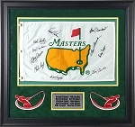 Arnold Palmer, Byron Nelson, Ben Hogan & More Autographed Framed Masters Flag