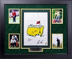 Arnold Palmer, Jack Nicklaus and Gary Player Autographed Framed Masters Flag