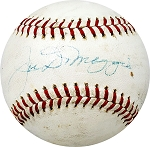Joe DiMaggio Autographed Official American League Baseball