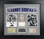 Sandy Koufax Autographed Index Card Framed with 1965 World Series Game 5 & 7 Tickets