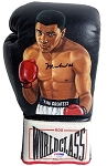 Muhammad Ali Autographed World Class Boxing Glove with Painted Portrait