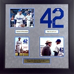 Chadwick Boseman & Harrison Ford Autographed '42' 8x10 Photo & Jersey Number Framed