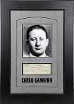 Carlo Gambino Autographed Check Framed with Mugshot